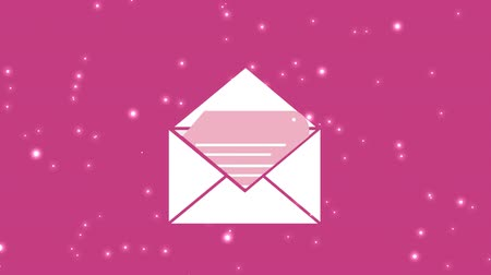 spam : Digital animation of an envelope with a document on a pink starry background