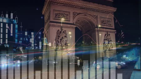 stock market graph : Digital composite of Arc de Triomphe with graphs and statistics in the foreground