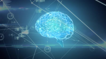 lobe : Digital animation of a brain with a network of graphs and codes in the foreground Stock Footage