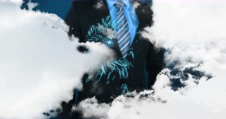 sofisticado : Digital composite of a businessman in suit using a touchscreen on a futuristic side profile of a man with digital circuits and foreground of clouds separating. 4k