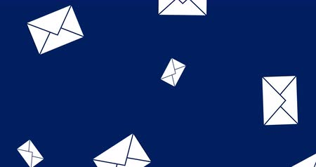 navegador : Digital animation of message envelopes falling in the screen against a blue background. 4k