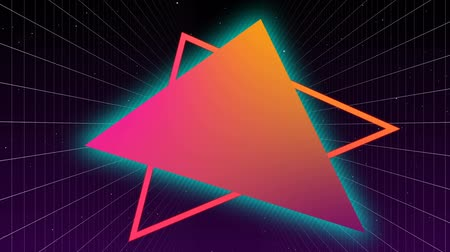 electric strike : Digital animation of colorful digital triangles with blue and pink lightning and background of the dark square patterns