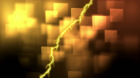 electric strike : Digitally generated animation of yellow lightning and square patterns moving in the background Stock Footage