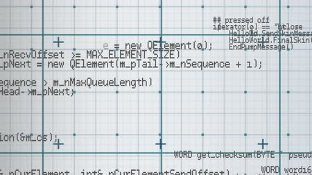 desenli : Digital animation of program codes moving against a square patterned background
