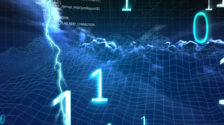 electric strike : Digital animation of binary codes and lightning moving in the screen with background of the night sky with clouds and square patterns Stock Footage