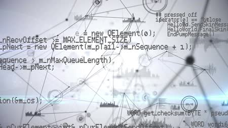 navegador : Digital animation of program codes moving in the screen with background of different graphs connected with asymmetrical lines Vídeos