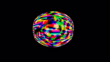 błąd : Digital animation of colorful static bouncing around the screen against black background