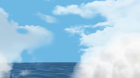 serene : Digital composite of the calm sea with a view of the sky while clouds closes in to cover the screen