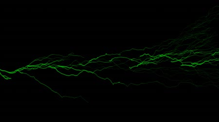 electric strike : Digital animation of green and yellow lightning moving in the black screen Stock Footage