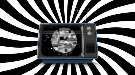 sintonizador : Digital animation of old television with monochromatic static and black and white pattern moving in the background