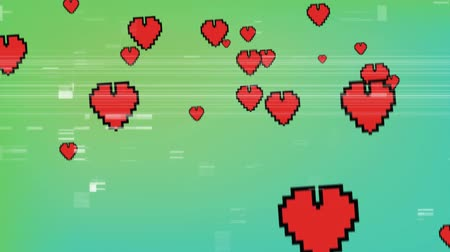 tahıllar : Digital animation of red digital hearts moving up in the screen with white static Stok Video
