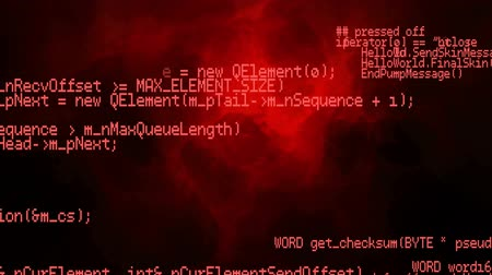 shluk : Digital animation of program codes moving in the screen with a black background with red smoke Dostupné videozáznamy