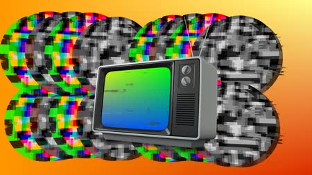 sintonizador : Digital animation of an old television with colorful static shaped in circles in the background