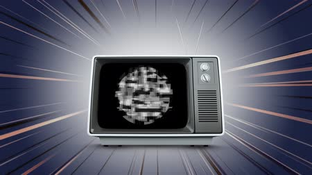 sintonizador : Digital animation of an old television with monochromatic static shaped in a circle with grey background and moving lines Stock Footage