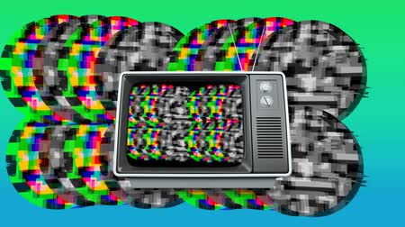 мерцание : Digital animation of an old television with colorful and monochrome static shaped in circles moving in the screen of the television and background.