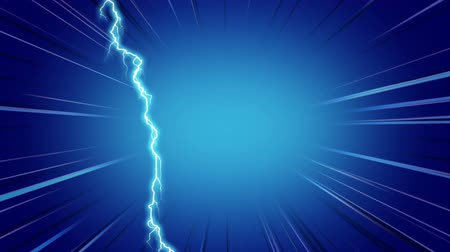 electric strike : Digital animation of blue lightning moving in the screen against a blue background with moving lines