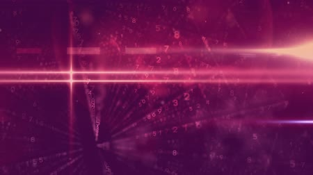 navegador : Digital animation of pink lightning and binary codes against purple background