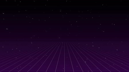 astro : Digital animation of blue and pink lightning moving in the screen with a futuristic background of the galaxy and square patterns