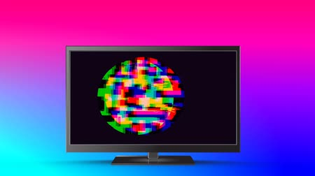 мерцание : Digital animation of colorful static shaped in a circle moving in an LCD screen with colorful background