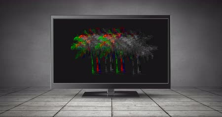 tiled floor : Digital animation of colorful and monochrome static shaped in palm trees moving in an LCD screen placed in a tiled floor 4k