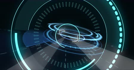 administrador : Digital animation of futuristic circles moving around a 5G and an outline of a house 4k
