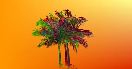 błąd : Digital animation of a colorful palm tree moving against an orange background 4k