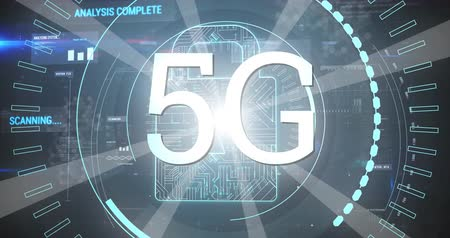 gestionnaire : Digital animation of futuristic circles moving around 5G with background a digital lock 4k
