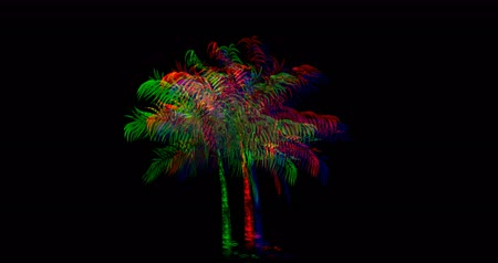 botanik : Digital animation of colorful palm trees moving against black background 4k