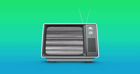 hangoló : Digital animation of an old television with static and background of blue and green gradient 4k Stock mozgókép