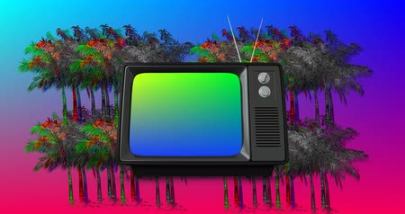 hangoló : Digital animation of old television with green and blue gradient on the screen with a background of colorful and monochrome palm trees moving in the blue and pink gradient background 4k