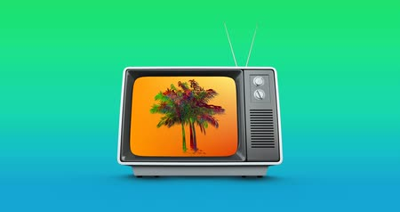 hangoló : Digital animation of a colorful palm tree moving in the orange screen of an old television with background of blue and green gradient 4k