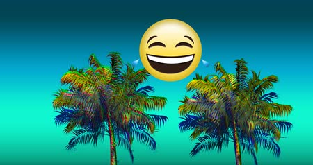 varenblad : Digital animation of a crying laughing emoji above two colorful palm trees moving against a blue gradient background 4k