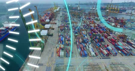 shipping : Digital animation of futuristic circles moving around 5G with background of a view of a port 4k