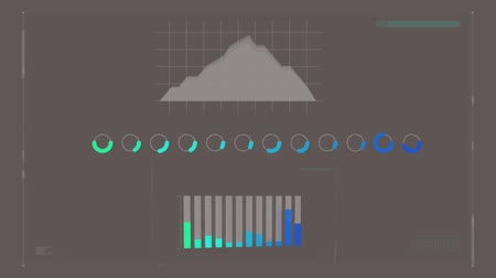 chart : Digital animation of a grey interface with graphs and circles