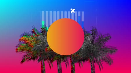 식물의 : Digital animation of an colorful circle flickering in the screen with a background of colorful and monochrome palm trees moving in the screen with bars