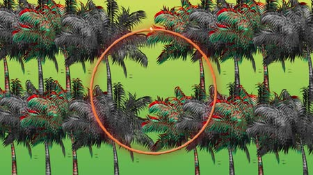 botanik : Digital animation of a circle glowing with a background of colorful and monochrome palm trees moving in the screen