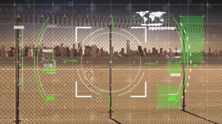 escopo : Digital animation of a view finder interface and futuristic circle moving in the screen with background of a fence with a city in the distance