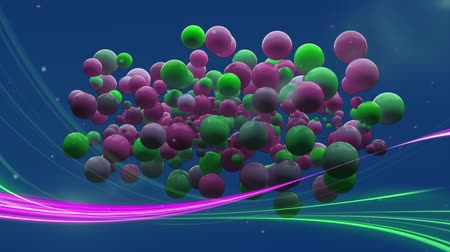 フォアグラウンド : Digitally generated animation of green and purple circles appearing on the screen with green and purple lights moving in the foreground and blue background 動画素材