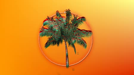 bush fire : Digital animation a ring of fire behind a colorful palm tree moving against an orange background