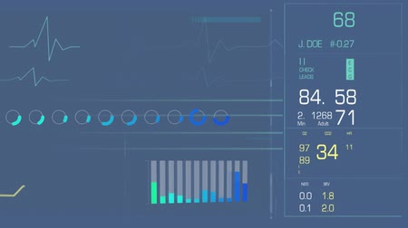 ecg : Digital animation of a digital interface with heart rates and bars Stock Footage