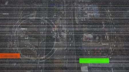 subway car : Digital animation of colorful static moving in the screen with a background of a view of a highway with cars Stock Footage