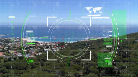 sniper scope : Digital animation of a digital viewfinder with a view of a city near the ocean