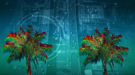 varenblad : Digital animation of colorful palm tree moving in the screen with a background of a view of a highway with cars