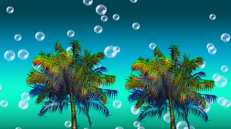 tropical fruit : Digital animation of colorful palm trees moving in the screen while bubbles floats up in the blue gradient background Stock Footage