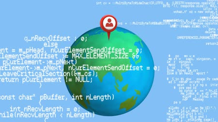 html : Digital animation program codes moving in the screen with a background of a pin on a globe rotating