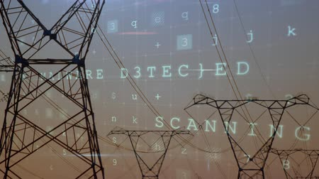 comando : Digital animation of cyber security words moving in the screen with a background of power lines during dusk