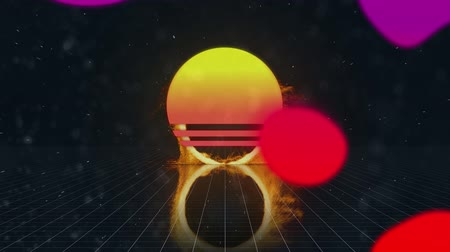inflamável : Digital animation of a ring of fire zooming in on the screen and a circle with yellow and pink gradient while colorful liquid moves in the foreground and a black background with square patterns Vídeos
