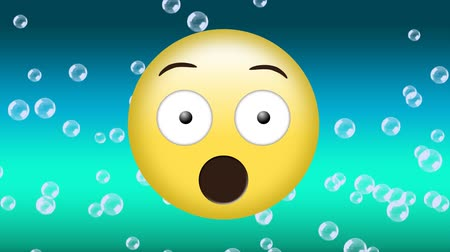 navegador : Digital animation of a surprised emoji while bubbles float in the background against blue gradient background