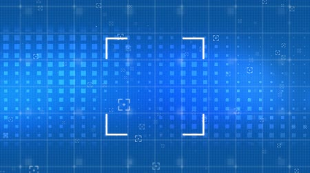 eye piece : Digital animation of viewfinder and square patterns moving in the blue background