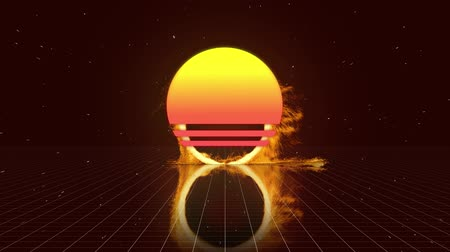 inflamável : Digital animation of a ring of fire zooming in on the screen and a dark background with square patterns and a circle with yellow and pink gradient in the middle Vídeos